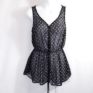 Sheer Polka Dot Sleeveless Blouse